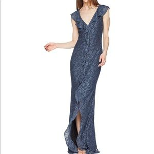 Zac Posen Kyra blue lace cap sleeve formal gown